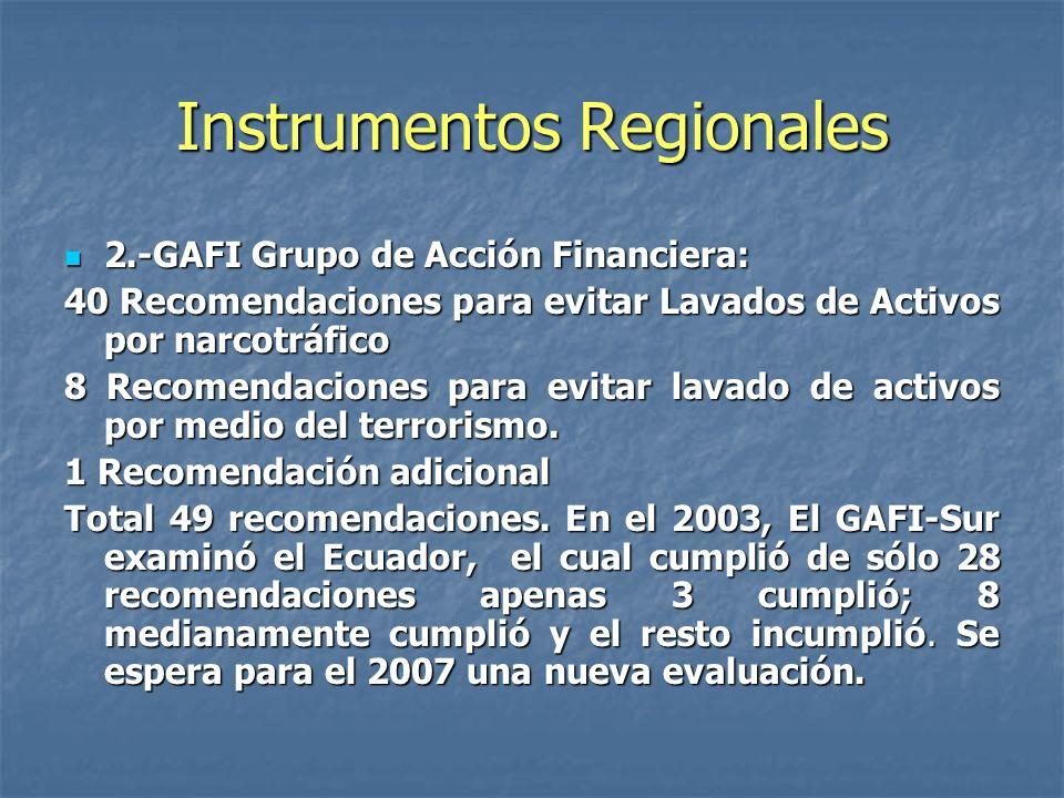 Instrumentos Regionales 2.-GAFI Grupo de Acción Financiera: 2.-GAFI Grupo de Acción Financiera: 40 Recomendaciones para evitar Lavados de Activos por