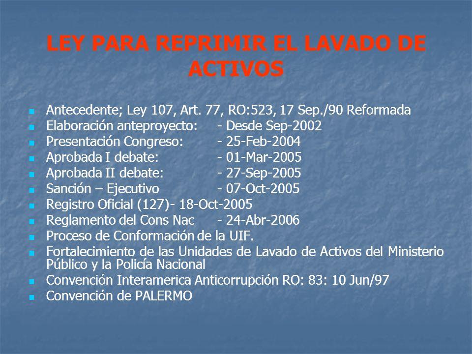 LEY PARA REPRIMIR EL LAVADO DE ACTIVOS Antecedente; Ley 107, Art. 77, RO:523, 17 Sep./90 Reformada Elaboración anteproyecto: - Desde Sep-2002 Presenta