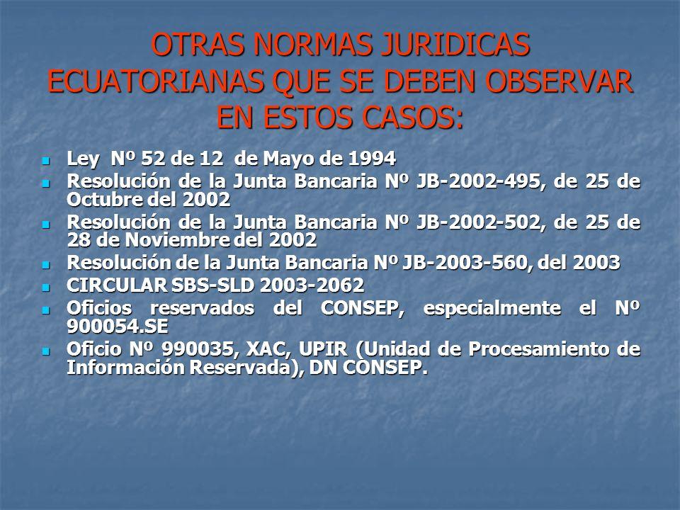 OTRAS NORMAS JURIDICAS ECUATORIANAS QUE SE DEBEN OBSERVAR EN ESTOS CASOS: Ley Nº 52 de 12 de Mayo de 1994 Ley Nº 52 de 12 de Mayo de 1994 Resolución d