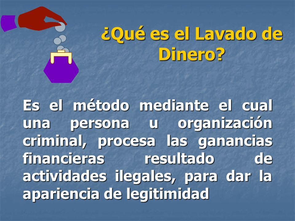 ¿Qué es el Lavado de Dinero? Es el método mediante el cual una persona u organización criminal, procesa las ganancias financieras resultado de activid