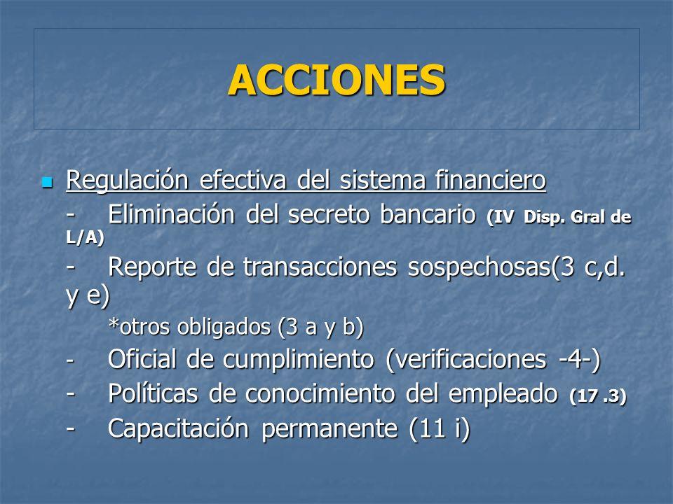 Regulación efectiva del sistema financiero Regulación efectiva del sistema financiero -Eliminación del secreto bancario (IV Disp. Gral de L/A) -Report