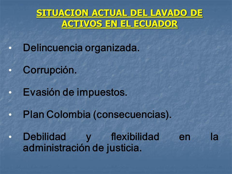 SITUACION ACTUAL DEL LAVADO DE ACTIVOS EN EL ECUADOR Delincuencia organizada. Corrupción. Evasión de impuestos. Plan Colombia (consecuencias). Debilid