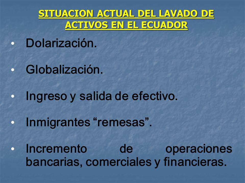SITUACION ACTUAL DEL LAVADO DE ACTIVOS EN EL ECUADOR Dolarización. Globalización. Ingreso y salida de efectivo. Inmigrantes remesas. Incremento de ope