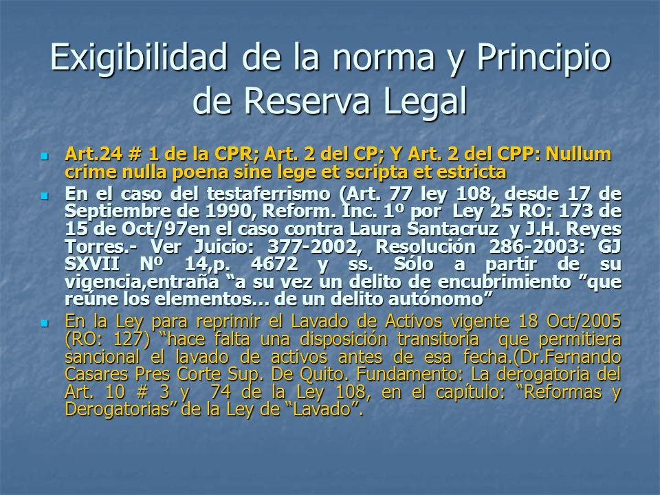 Exigibilidad de la norma y Principio de Reserva Legal Art.24 # 1 de la CPR; Art. 2 del CP; Y Art. 2 del CPP: Nullum crime nulla poena sine lege et scr