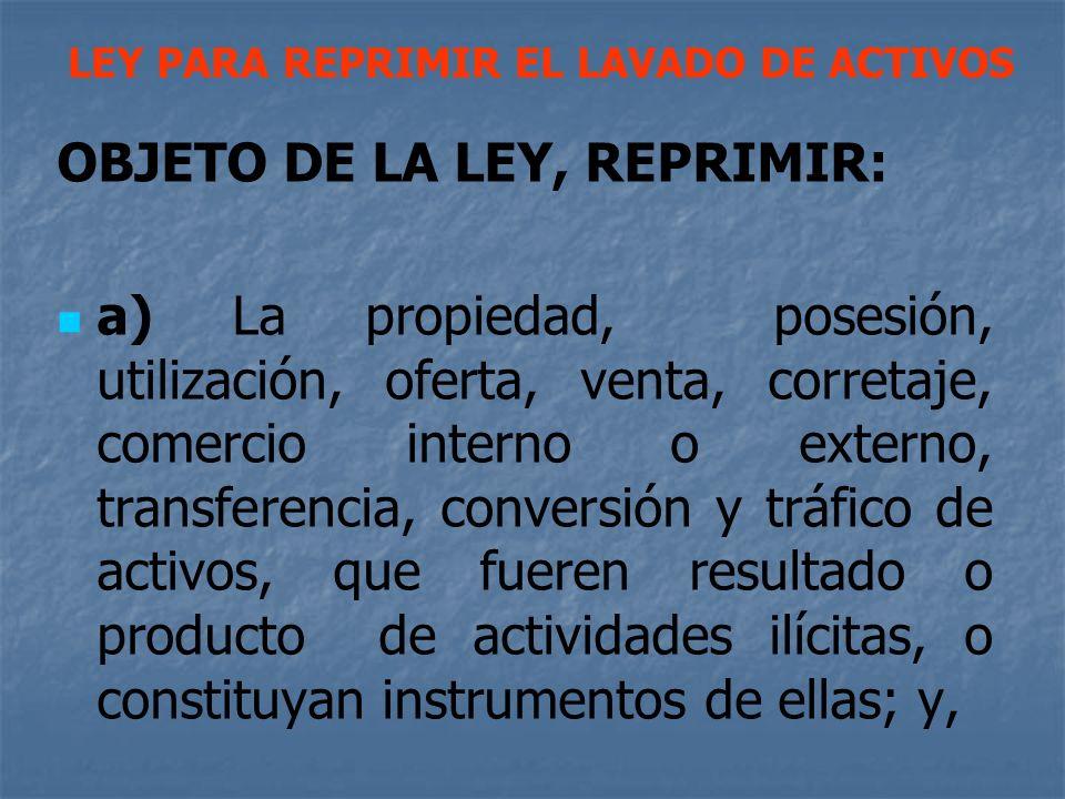 OBJETO DE LA LEY, REPRIMIR: a) La propiedad, posesión, utilización, oferta, venta, corretaje, comercio interno o externo, transferencia, conversión y