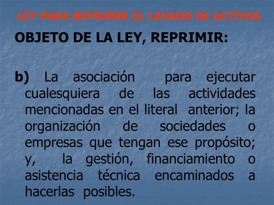 OBJETO DE LA LEY, REPRIMIR: b) La asociación para ejecutar cualesquiera de las actividades mencionadas en el literal anterior; la organización de soci