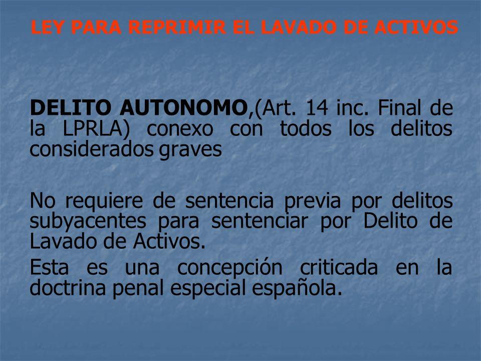 DELITO AUTONOMO,(Art. 14 inc. Final de la LPRLA) conexo con todos los delitos considerados graves No requiere de sentencia previa por delitos subyacen