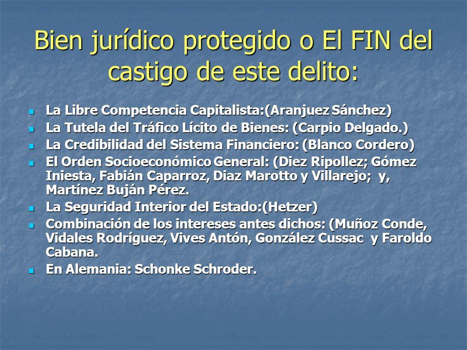 Bien jurídico protegido o El FIN del castigo de este delito: La Libre Competencia Capitalista:(Aranjuez Sánchez) La Libre Competencia Capitalista:(Ara
