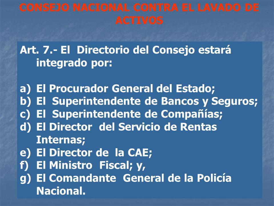 CONSEJO NACIONAL CONTRA EL LAVADO DE ACTIVOS Art. 7.- El Directorio del Consejo estará integrado por: a) El Procurador General del Estado; b) El Super