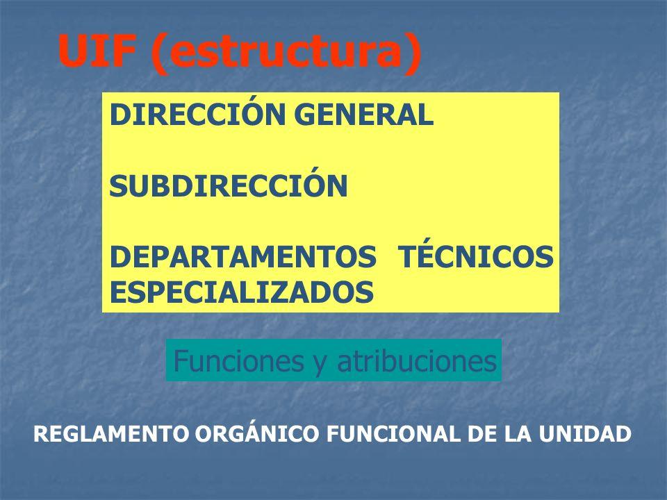 DIRECCIÓN GENERAL SUBDIRECCIÓN DEPARTAMENTOS TÉCNICOS ESPECIALIZADOS UIF (estructura) Funciones y atribuciones REGLAMENTO ORGÁNICO FUNCIONAL DE LA UNI