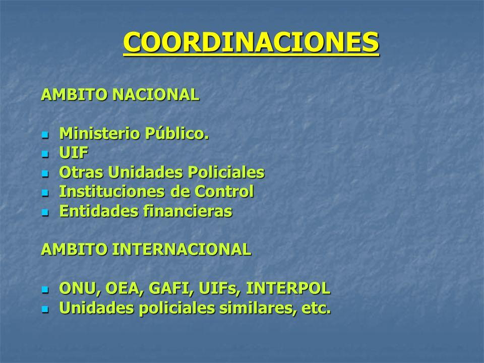 COORDINACIONES AMBITO NACIONAL Ministerio Público. Ministerio Público. UIF UIF Otras Unidades Policiales Otras Unidades Policiales Instituciones de Co