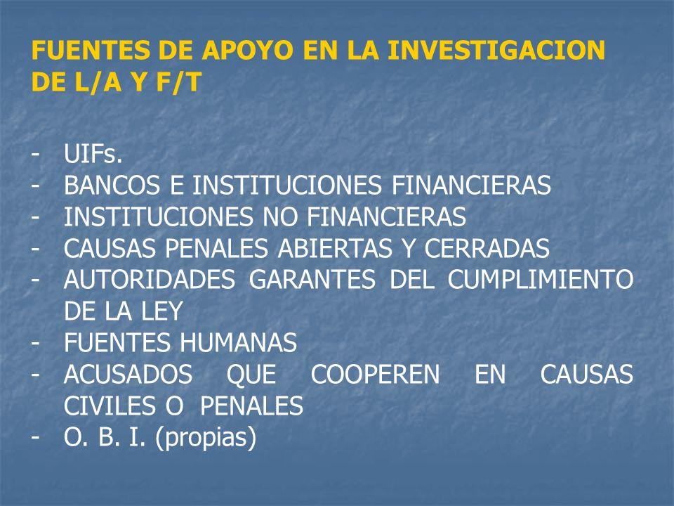 FUENTES DE APOYO EN LA INVESTIGACION DE L/A Y F/T -UIFs. -BANCOS E INSTITUCIONES FINANCIERAS -INSTITUCIONES NO FINANCIERAS -CAUSAS PENALES ABIERTAS Y