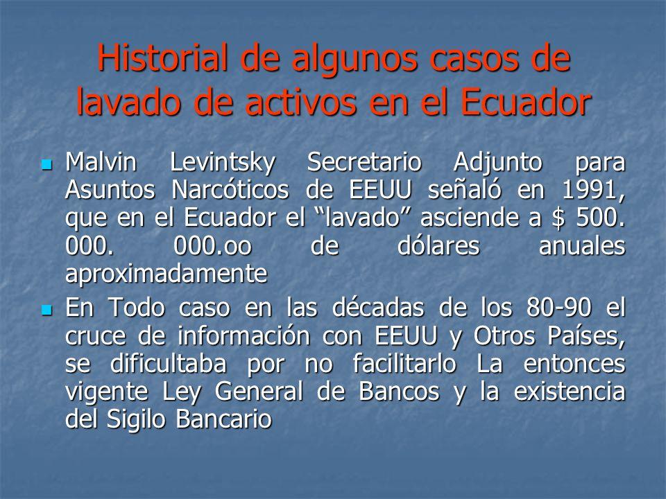 Historial de algunos casos de lavado de activos en el Ecuador Malvin Levintsky Secretario Adjunto para Asuntos Narcóticos de EEUU señaló en 1991, que
