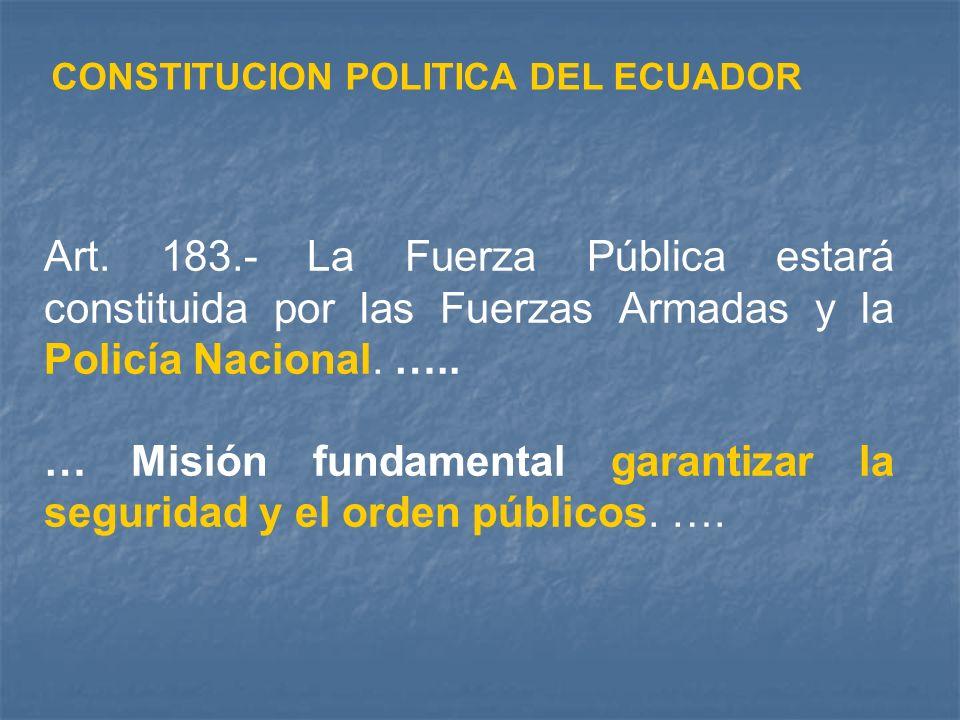 CONSTITUCION POLITICA DEL ECUADOR Art. 183.- La Fuerza Pública estará constituida por las Fuerzas Armadas y la Policía Nacional. ….. … Misión fundamen
