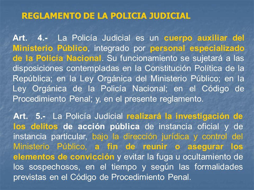 Art. 4.- La Policía Judicial es un cuerpo auxiliar del Ministerio Público, integrado por personal especializado de la Policía Nacional. Su funcionamie