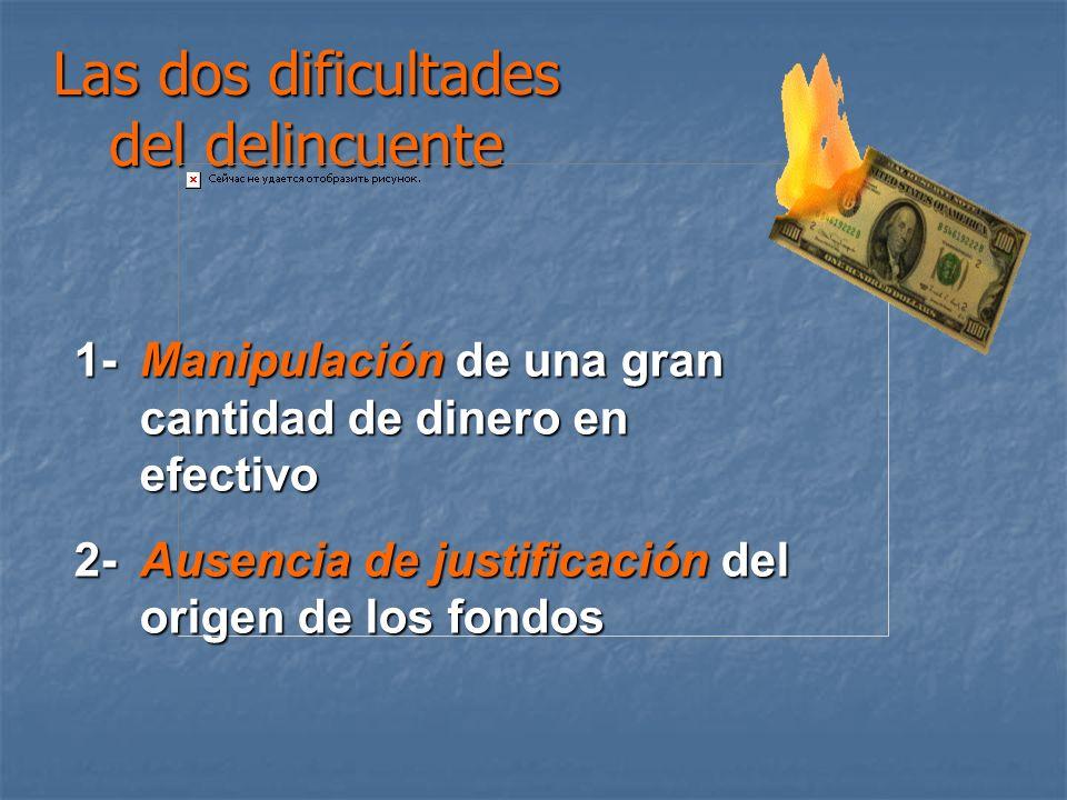 Las dos dificultades del delincuente 1-Manipulación de una gran cantidad de dinero en efectivo 2- Ausencia de justificación del origen de los fondos