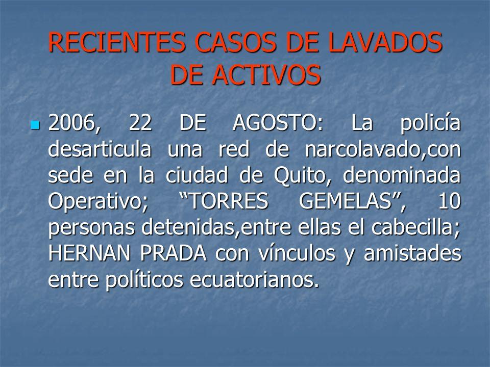 RECIENTES CASOS DE LAVADOS DE ACTIVOS 2006, 22 DE AGOSTO: La policía desarticula una red de narcolavado,con sede en la ciudad de Quito, denominada Ope