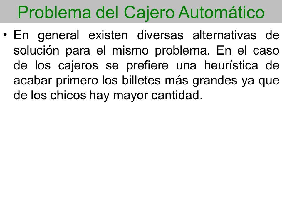 Problema del Cajero Automático En general existen diversas alternativas de solución para el mismo problema. En el caso de los cajeros se prefiere una