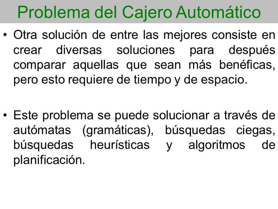 Problema del Cajero Automático Otra solución de entre las mejores consiste en crear diversas soluciones para después comparar aquellas que sean más be