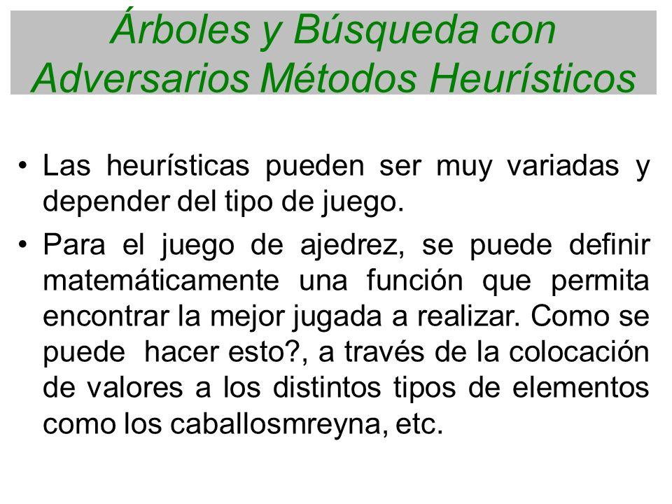 Árboles y Búsqueda con Adversarios Métodos Heurísticos Las heurísticas pueden ser muy variadas y depender del tipo de juego. Para el juego de ajedrez,