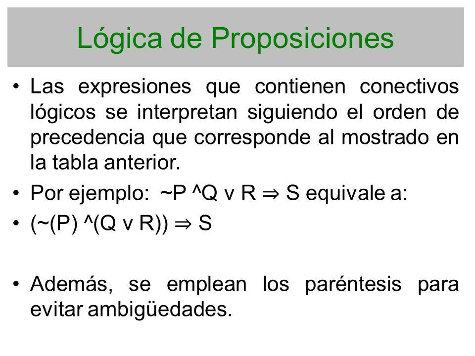 Lógica de Proposiciones Las expresiones que contienen conectivos lógicos se interpretan siguiendo el orden de precedencia que corresponde al mostrado