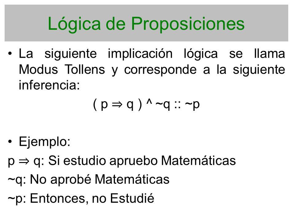 Lógica de Proposiciones La siguiente implicación lógica se llama Modus Tollens y corresponde a la siguiente inferencia: ( p q ) ^ ~q :: ~p Ejemplo: p