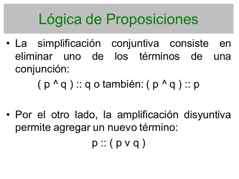 Lógica de Proposiciones La simplificación conjuntiva consiste en eliminar uno de los términos de una conjunción: ( p ^ q ) :: q o también: ( p ^ q ) :
