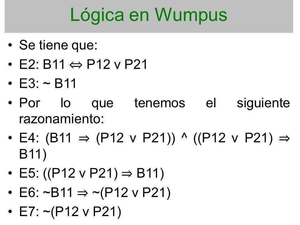 Lógica en Wumpus Se tiene que: E2: B11 P12 v P21 E3: ~ B11 Por lo que tenemos el siguiente razonamiento: E4: (B11 (P12 v P21)) ^ ((P12 v P21) B11) E5: