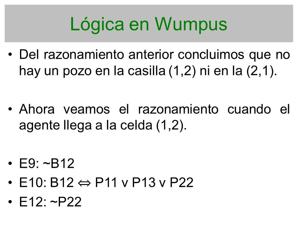 Lógica en Wumpus Del razonamiento anterior concluimos que no hay un pozo en la casilla (1,2) ni en la (2,1). Ahora veamos el razonamiento cuando el ag