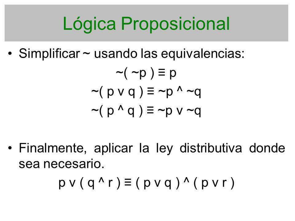 Lógica Proposicional Simplificar ~ usando las equivalencias: ~( ~p ) p ~( p v q ) ~p ^ ~q ~( p ^ q ) ~p v ~q Finalmente, aplicar la ley distributiva d