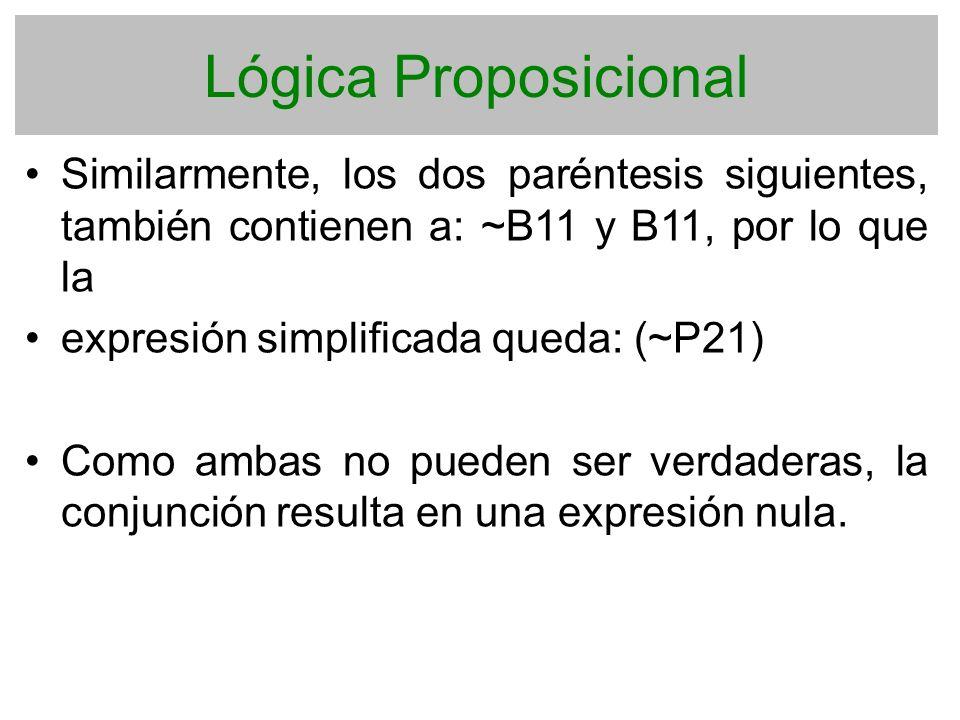 Lógica Proposicional Similarmente, los dos paréntesis siguientes, también contienen a: ~B11 y B11, por lo que la expresión simplificada queda: (~P21)