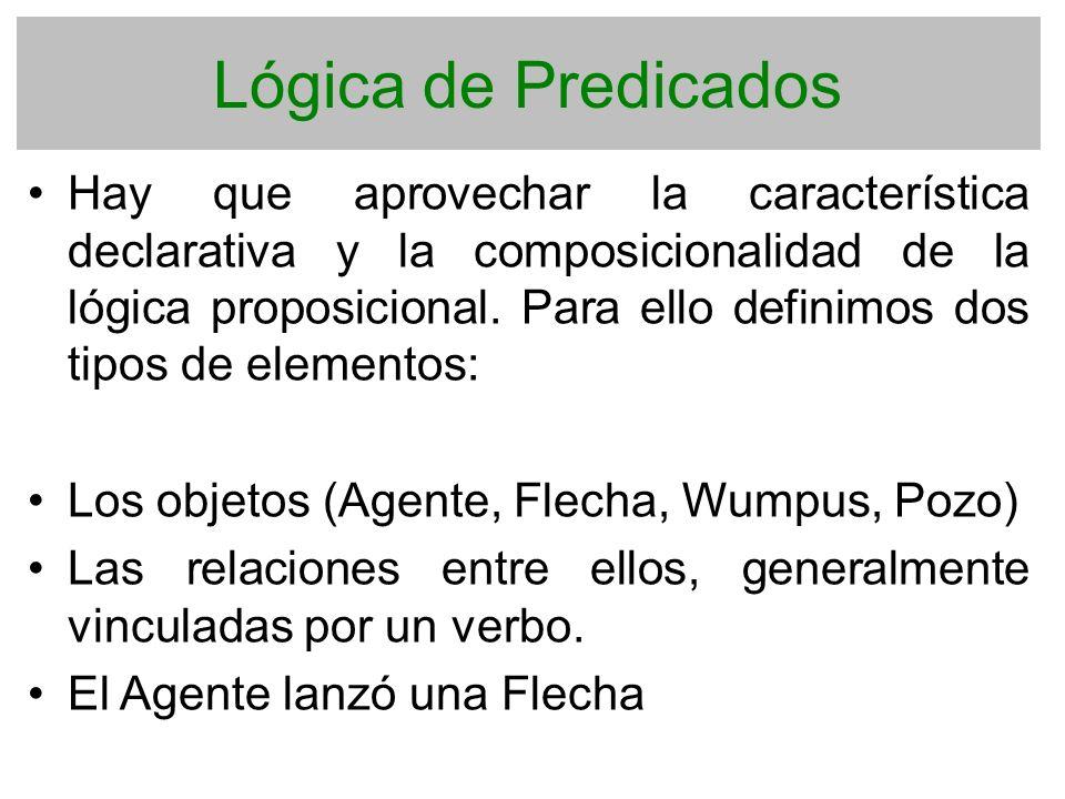 Lógica de Predicados Hay que aprovechar la característica declarativa y la composicionalidad de la lógica proposicional. Para ello definimos dos tipos
