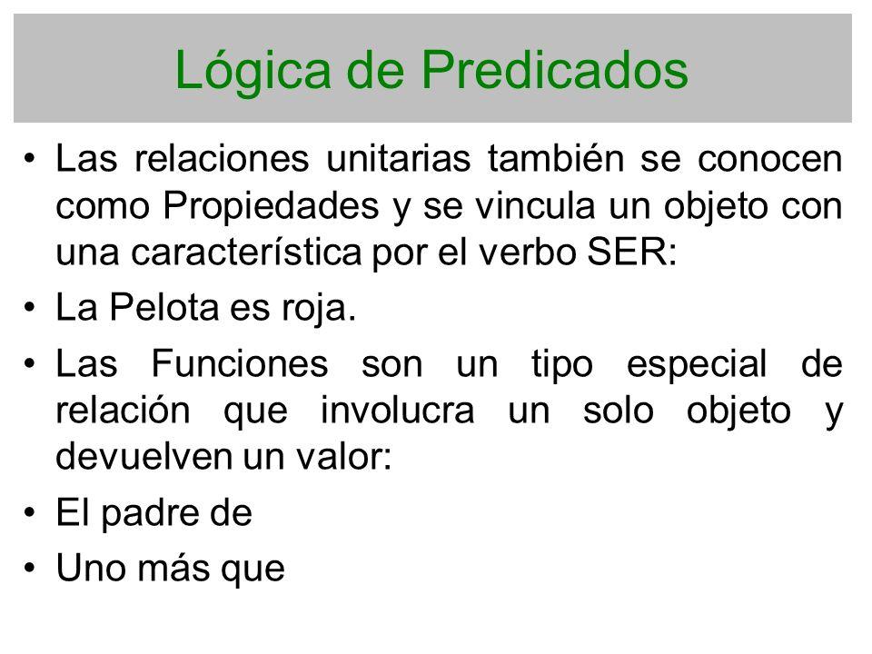 Lógica de Predicados Las relaciones unitarias también se conocen como Propiedades y se vincula un objeto con una característica por el verbo SER: La P