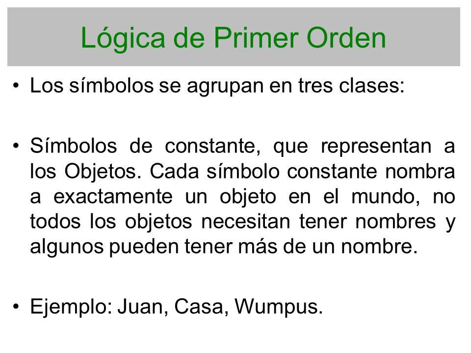 Lógica de Primer Orden Los símbolos se agrupan en tres clases: Símbolos de constante, que representan a los Objetos. Cada símbolo constante nombra a e