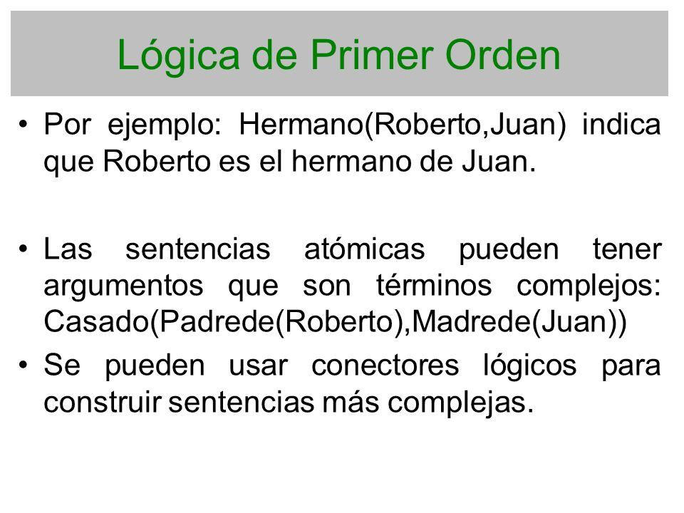 Lógica de Primer Orden Por ejemplo: Hermano(Roberto,Juan) indica que Roberto es el hermano de Juan. Las sentencias atómicas pueden tener argumentos qu
