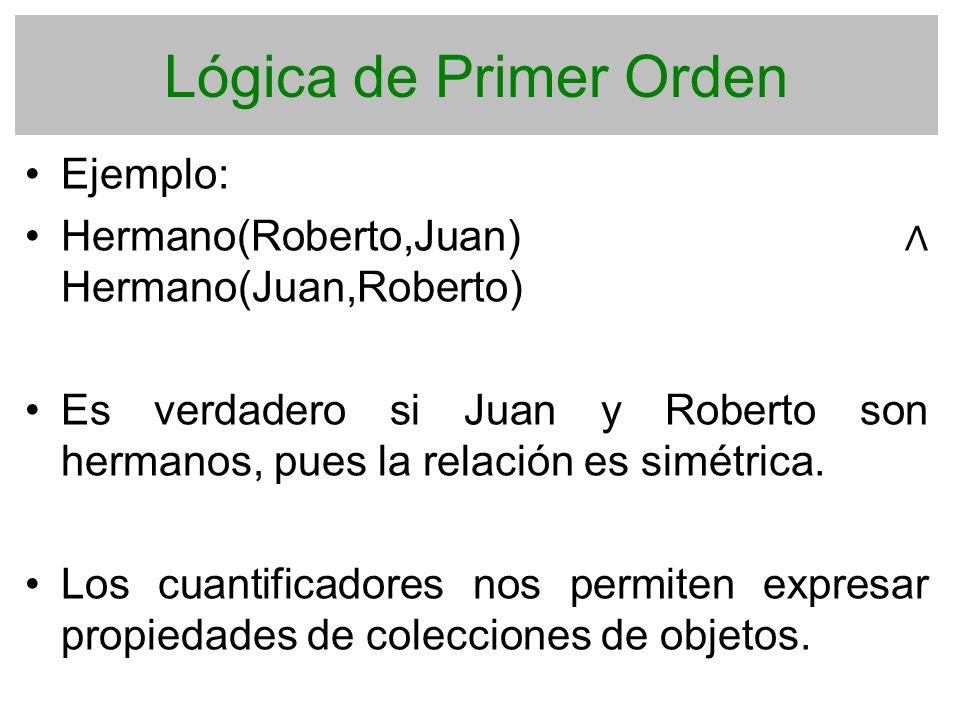 Lógica de Primer Orden Ejemplo: Hermano(Roberto,Juan) Hermano(Juan,Roberto) Es verdadero si Juan y Roberto son hermanos, pues la relación es simétrica