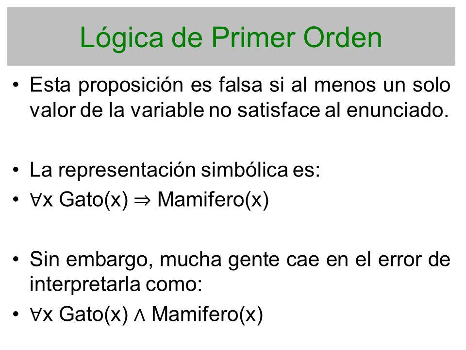 Lógica de Primer Orden Esta proposición es falsa si al menos un solo valor de la variable no satisface al enunciado. La representación simbólica es: x