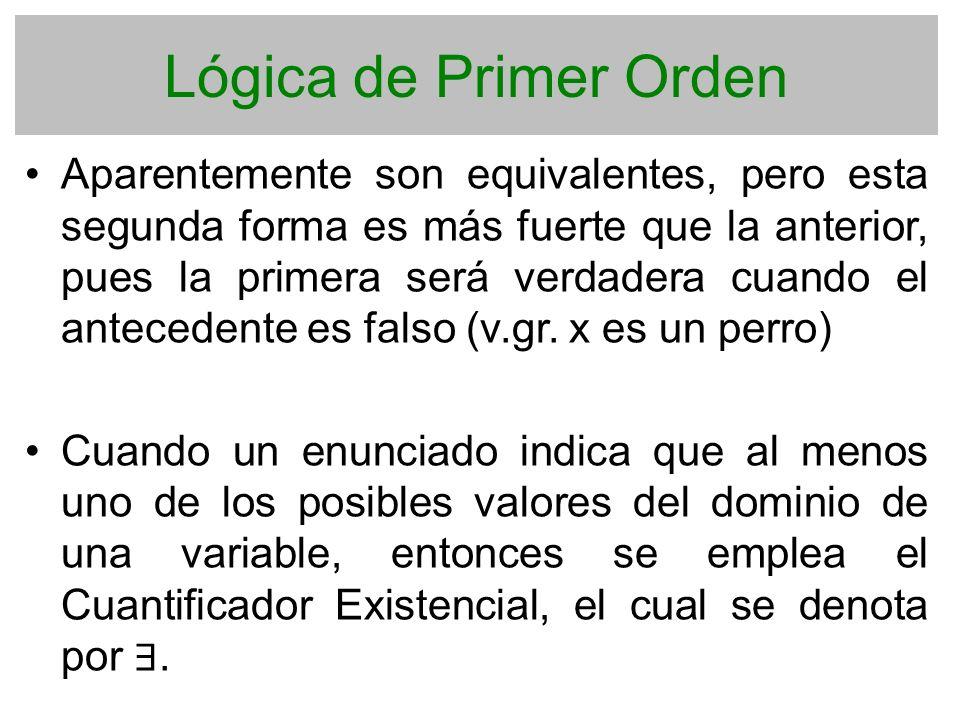 Lógica de Primer Orden Aparentemente son equivalentes, pero esta segunda forma es más fuerte que la anterior, pues la primera será verdadera cuando el