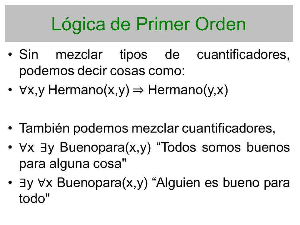 Lógica de Primer Orden Sin mezclar tipos de cuantificadores, podemos decir cosas como: x,y Hermano(x,y) Hermano(y,x) También podemos mezclar cuantific