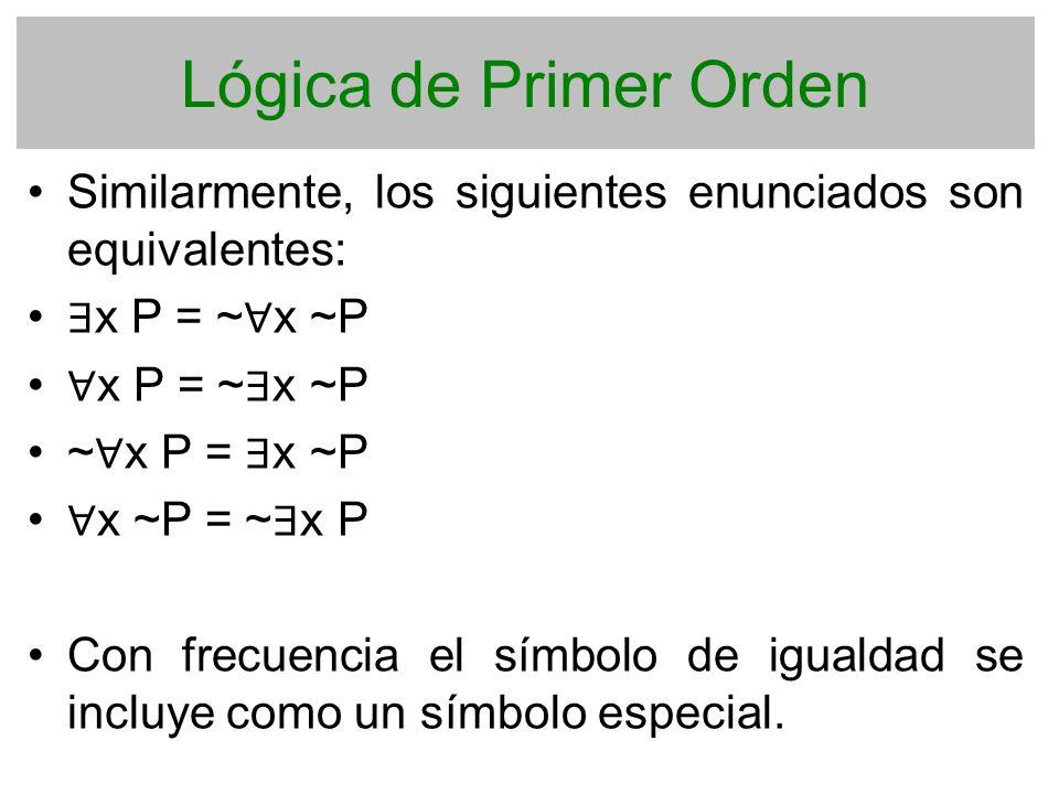 Lógica de Primer Orden Similarmente, los siguientes enunciados son equivalentes: x P = ~ x ~P ~ x P = x ~P x ~P = ~ x P Con frecuencia el símbolo de i