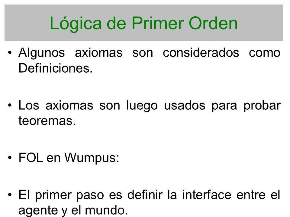 Lógica de Primer Orden Algunos axiomas son considerados como Definiciones. Los axiomas son luego usados para probar teoremas. FOL en Wumpus: El primer