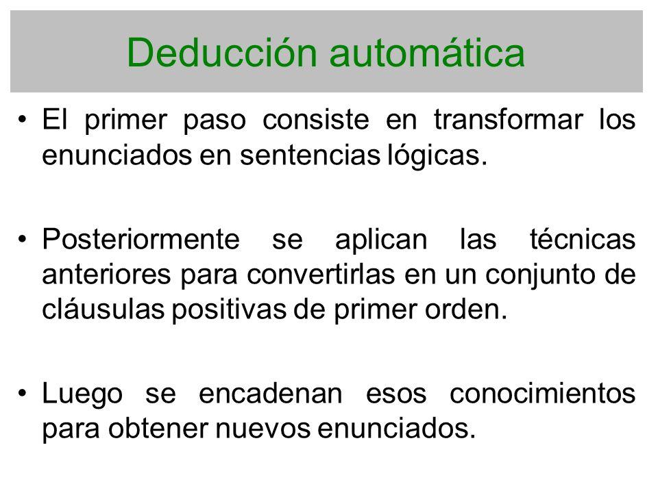 Deducción automática El primer paso consiste en transformar los enunciados en sentencias lógicas. Posteriormente se aplican las técnicas anteriores pa