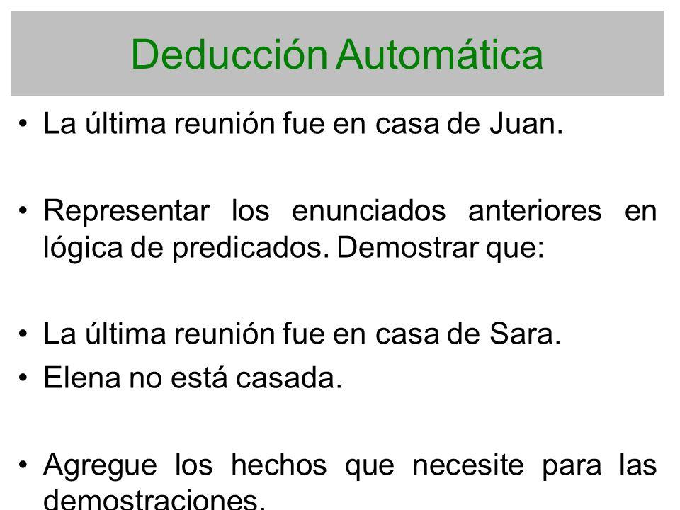 Deducción Automática La última reunión fue en casa de Juan. Representar los enunciados anteriores en lógica de predicados. Demostrar que: La última re