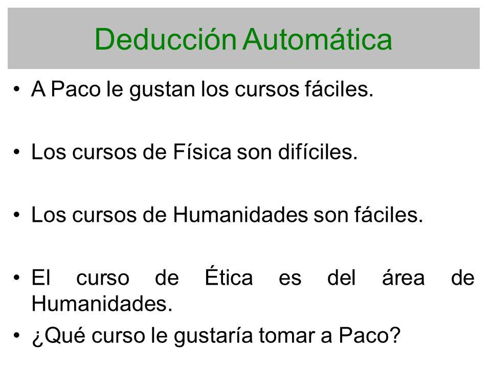 Deducción Automática A Paco le gustan los cursos fáciles. Los cursos de Física son difíciles. Los cursos de Humanidades son fáciles. El curso de Ética