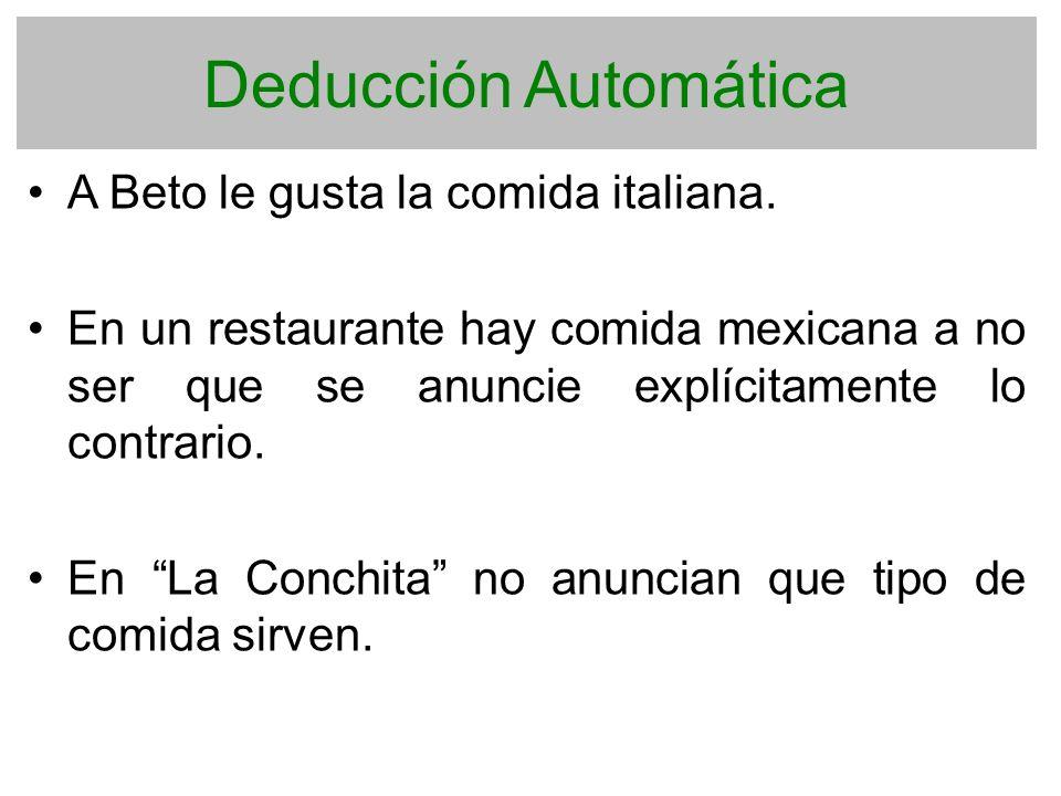 Deducción Automática A Beto le gusta la comida italiana. En un restaurante hay comida mexicana a no ser que se anuncie explícitamente lo contrario. En