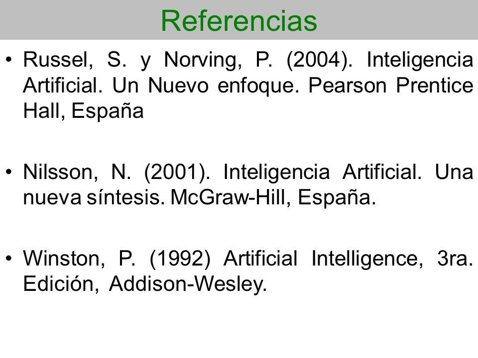 Referencias Russel, S. y Norving, P. (2004). Inteligencia Artificial. Un Nuevo enfoque. Pearson Prentice Hall, España Nilsson, N. (2001). Inteligencia
