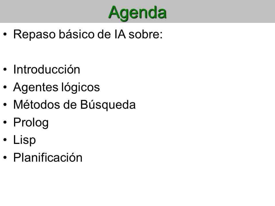 Agenda Repaso básico de IA sobre: Introducción Agentes lógicos Métodos de Búsqueda Prolog Lisp Planificación