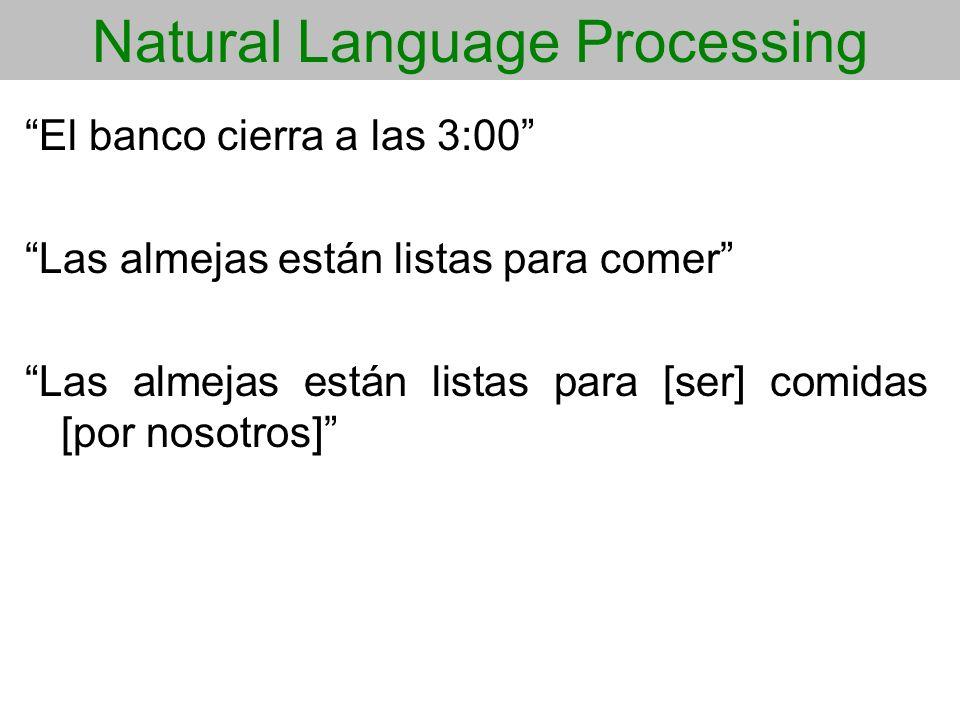 Natural Language Processing El banco cierra a las 3:00 Las almejas están listas para comer Las almejas están listas para [ser] comidas [por nosotros]