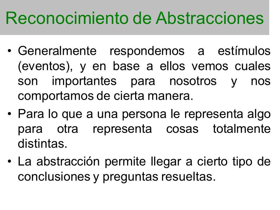 Reconocimiento de Abstracciones Generalmente respondemos a estímulos (eventos), y en base a ellos vemos cuales son importantes para nosotros y nos com