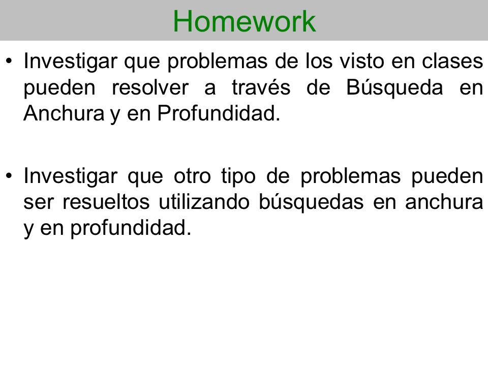 Homework Investigar que problemas de los visto en clases pueden resolver a través de Búsqueda en Anchura y en Profundidad. Investigar que otro tipo de
